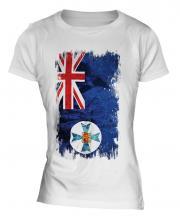 Queensland Grunge Flag Ladies T-Shirt