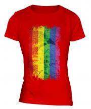 Gay Pride Grunge Flag Ladies T-Shirt