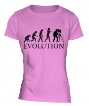 Retro Photographer Evolution Ladies T-Shirt