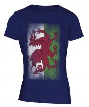 Wales Faded Flag Ladies T-Shirt