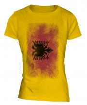 Albania Faded Flag Ladies T-Shirt