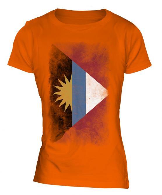 Antigua And Barbuda Faded Flag Ladies T-Shirt