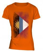 Antigua And Barbuda Faded Flag Ladies T-Shirt