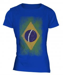 Brazil Faded Flag Ladies T-Shirt