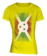 Burundi Faded Flag Ladies T-Shirt