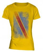 Democratic Rep. Of Congo Faded Flag Ladies T-Shirt