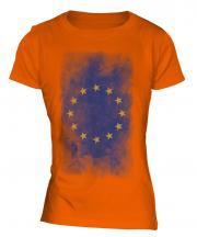 European Union Faded Flag Ladies T-Shirt