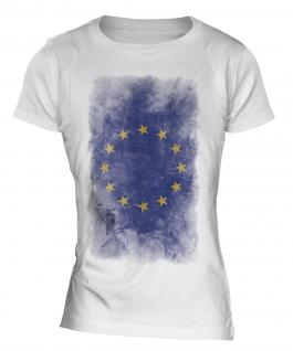 European Union Faded Flag Ladies T-Shirt