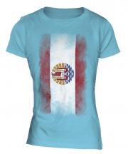 French Polynesia Faded Flag Ladies T-Shirt