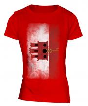 Gibraltar Faded Flag Ladies T-Shirt