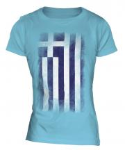 Greece Faded Flag Ladies T-Shirt