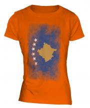 Kosovo Faded Flag Ladies T-Shirt