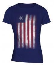 Liberia Faded Flag Ladies T-Shirt