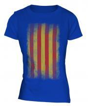 Catalonia Faded Flag Ladies T-Shirt