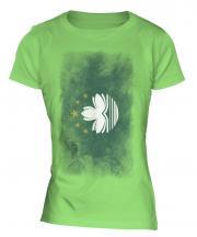 Macau Faded Flag Ladies T-Shirt