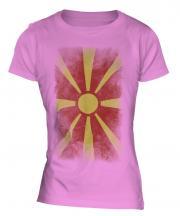 Macedonia Faded Flag Ladies T-Shirt