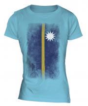 Nauru Faded Flag Ladies T-Shirt