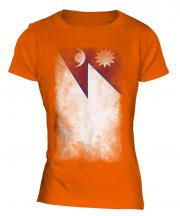 Nepal Faded Flag Ladies T-Shirt