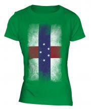Netherlands Antilles Faded Flag Ladies T-Shirt