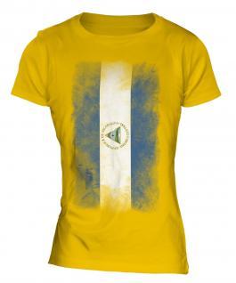 Nicaragua Faded Flag Ladies T-Shirt