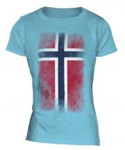 Norway Faded Flag Ladies T-Shirt