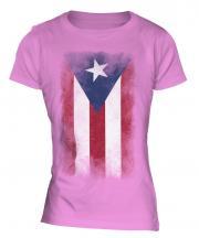 Puerto Rico Faded Flag Ladies T-Shirt