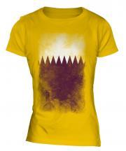 Qatar Faded Flag Ladies T-Shirt