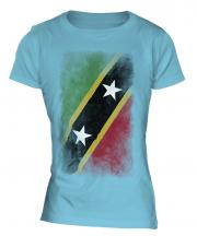 Saint Kitts And Nevis Faded Flag Ladies T-Shirt