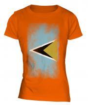 Saint Lucia Faded Flag Ladies T-Shirt