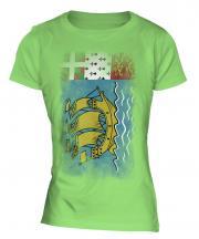 Saint Pierre And Miquelon Faded Flag Ladies T-Shirt