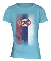 Serbia Faded Flag Ladies T-Shirt