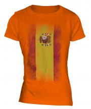 Spain Faded Flag Ladies T-Shirt