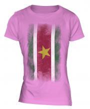 Suriname Faded Flag Ladies T-Shirt