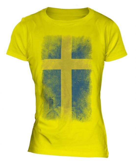 Sweden Faded Flag Ladies T-Shirt
