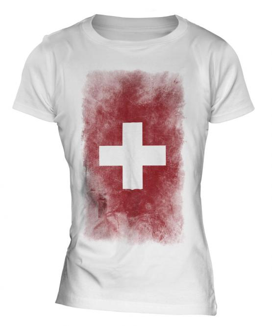 Switzerland Faded Flag Ladies T-Shirt
