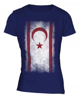 Turkish Republic Of Northern Cyprus Faded Flag Ladies T-Shirt