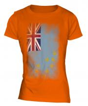 Tuvalu Faded Flag Ladies T-Shirt