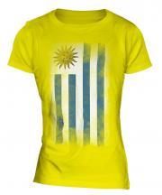 Uruguay Faded Flag Ladies T-Shirt