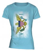 Us Virgin Islands Faded Flag Ladies T-Shirt