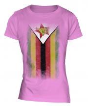 Zimbabwe Faded Flag Ladies T-Shirt