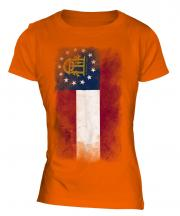 Georgia State Faded Flag Ladies T-Shirt