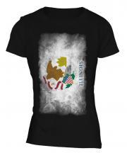 Illinois State Faded Flag Ladies T-Shirt