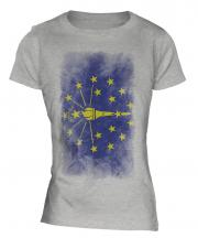 Indiana State Faded Flag Ladies T-Shirt