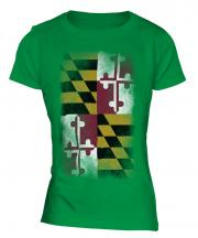 Maryland State Faded Flag Ladies T-Shirt