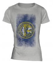 Nebraska State Faded Flag Ladies T-Shirt