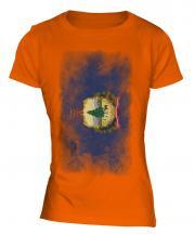 Vermont State Faded Flag Ladies T-Shirt