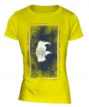 Wyoming State Faded Flag Ladies T-Shirt