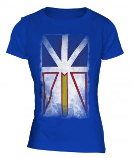 Newfoundland And Labrador Faded Flag Ladies T-Shirt