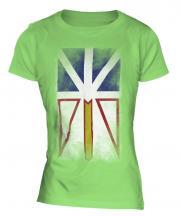 Newfoundland And Labrador Faded Flag Ladies T-Shirt