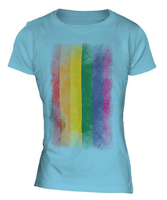 Gay Pride Faded Flag Ladies T-Shirt